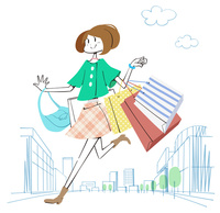 街でショッピングをする女性