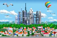 街と未来都市 10734000003| 写真素材・ストックフォト・画像・イラスト素材|アマナイメージズ