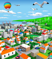 海辺の街とコンビニエンスストア