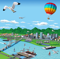 海辺の街の流通といろんな発電所
