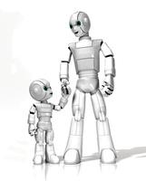 手をつなぐロボットの親子
