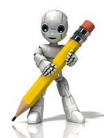 鉛筆を持つロボットの少年