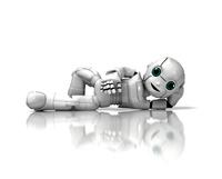 寝そべってくつろぐ少年ロボット