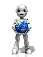 地球を抱える少年ロボット