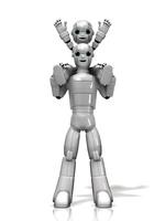 肩車をするロボット親子