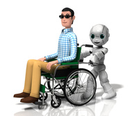 車いすを押す少年ロボット