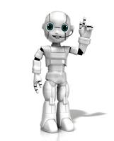 インカムをつけて案内する少年ロボット