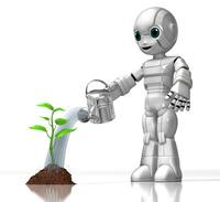 植物に水をやる少年ロボット
