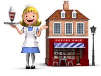 コーヒーショップと店員さん