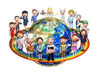 虹と地球と人々