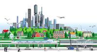 街と高層ビルと列車