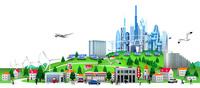 未来ビルと集合住宅と街