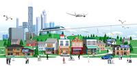 高層ビルと街と商店 10734000055| 写真素材・ストックフォト・画像・イラスト素材|アマナイメージズ