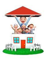 赤い屋根を持ち上げる父と家族