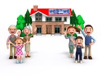 三世代家族とソーラーパネルの家