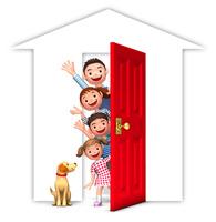 赤いドアと家族と犬