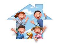 家のシルエットと家族と犬