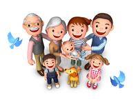 三世代家族と犬と青い鳥鳥瞰