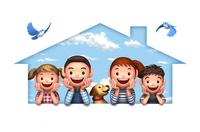 頬杖をつく家族と犬と青い鳥