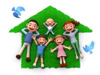 家のシルエット型の芝生の上でくつろぐ家族と青い鳥