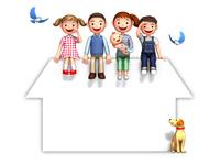 家のシルエットの屋根上の家族と犬と青い鳥