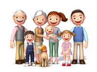 三世代家族と犬正面