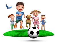 ボールを追いかける子供たちと犬、見守る両親