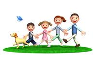 芝生の上を歩く家族と犬と青い鳥
