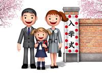 入学式の一年生女の子と両親 10734000075| 写真素材・ストックフォト・画像・イラスト素材|アマナイメージズ