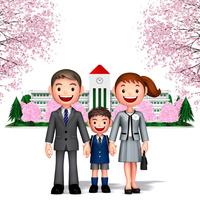 桜の校舎をバックに一年生男児と両親