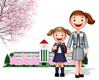 桜の校舎をバックに一年生の女の子と母 10734000077| 写真素材・ストックフォト・画像・イラスト素材|アマナイメージズ