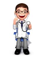 聴診器で診察する医師