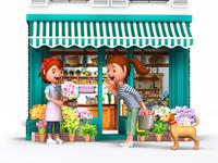 花屋で買い物をする母と愛犬