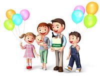 買い物中の風船を持った家族