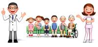 医師,看護師と病院の待合室で診察を待つ家族