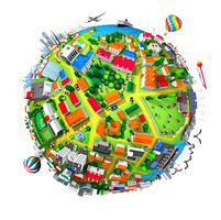 球状の街と人々