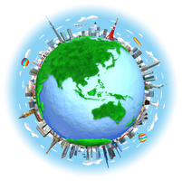 芝生の地球と街と世界のランドマーク