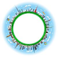 球状の街と世界のランドマーク