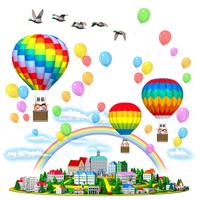 気球に乗る家族と丘の街,虹と風船,カモ