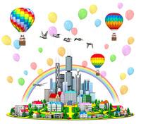気球に乗る家族と丘の街と高層ビル,虹と風船,カモ