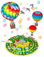 気球に乗る家族と丘の街,俯瞰,風船,カモ