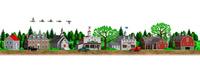 古いアメリカの田舎町の街並みとマガモ