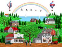 古いアメリカの田舎町の街並みと虹と気球とマガモ