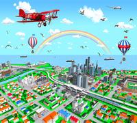 赤い複葉機と虹の街鳥瞰