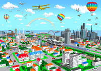 黄色い複葉機と虹の街