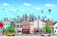 街と高層ビルと人々_1