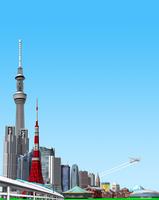 新東京ランドマークと新幹線 10734000117| 写真素材・ストックフォト・画像・イラスト素材|アマナイメージズ