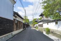 五個荘金堂の町並み,寺前・鯉通りにて舟板塀の蔵と水路