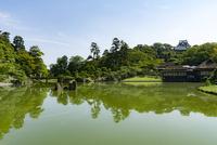 玄宮園全景と彦根城