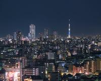 練馬区より望む東京スカイツリーと池袋サンシャイン60